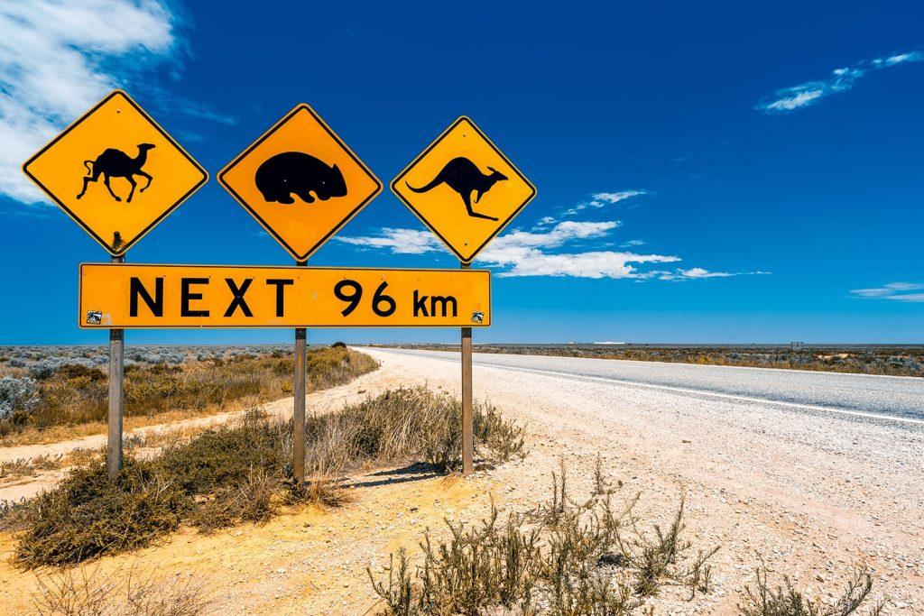 Road signs in Nullarbor Plain, Australia