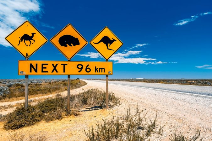 Road signs in Nullarbor Plain, Australia