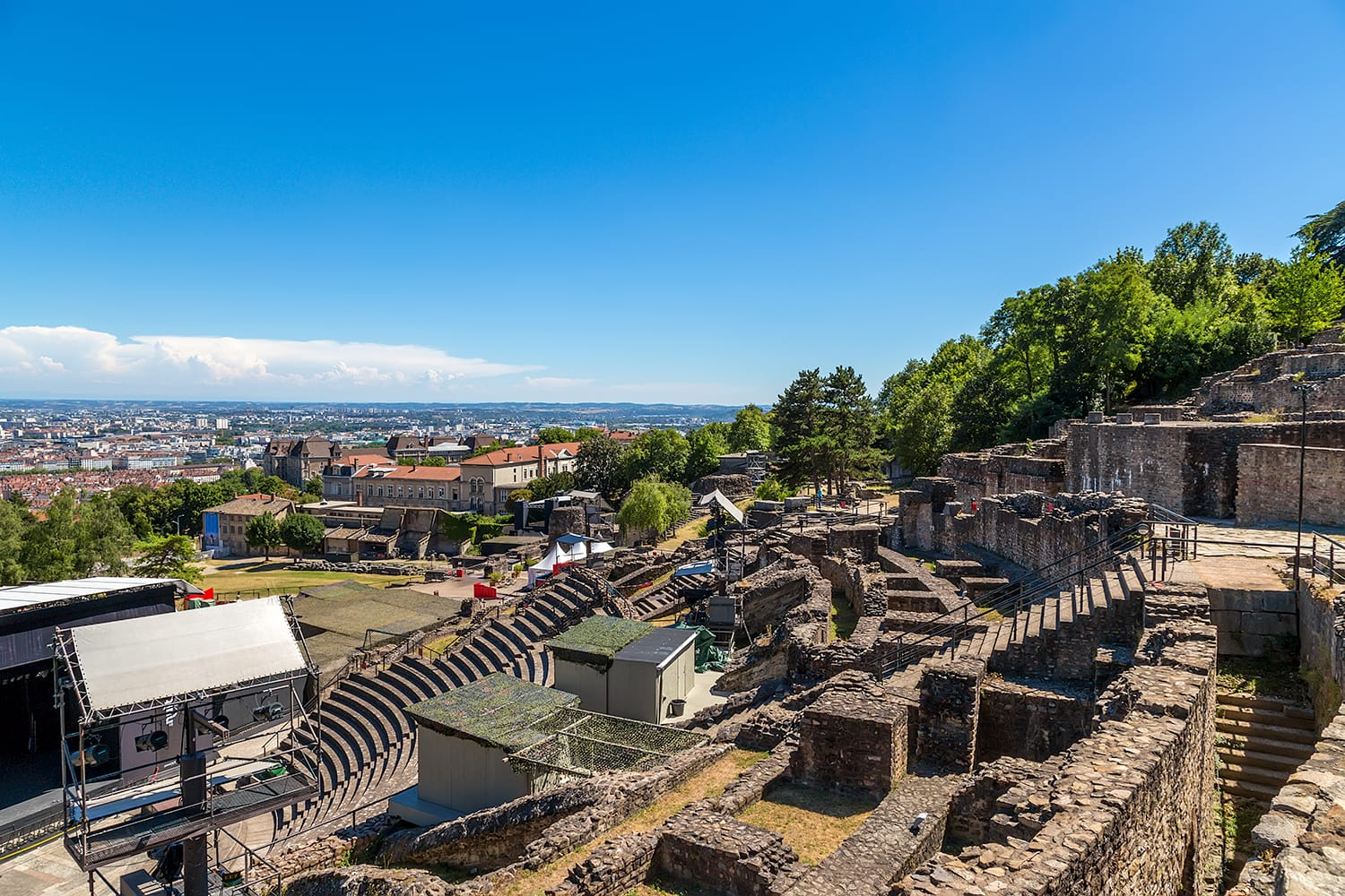Ruins of the Ancient Theatre of Fourviere hill in Lyon France