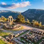 Ruins of the Temple of Athena Pronaia in ancient Delphi, Greece