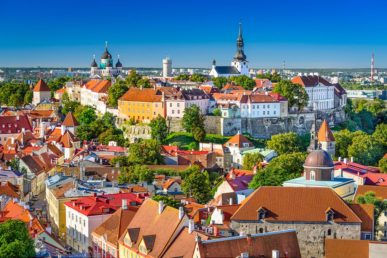Tallinn, Estonia, old town skyline of Toompea Hill