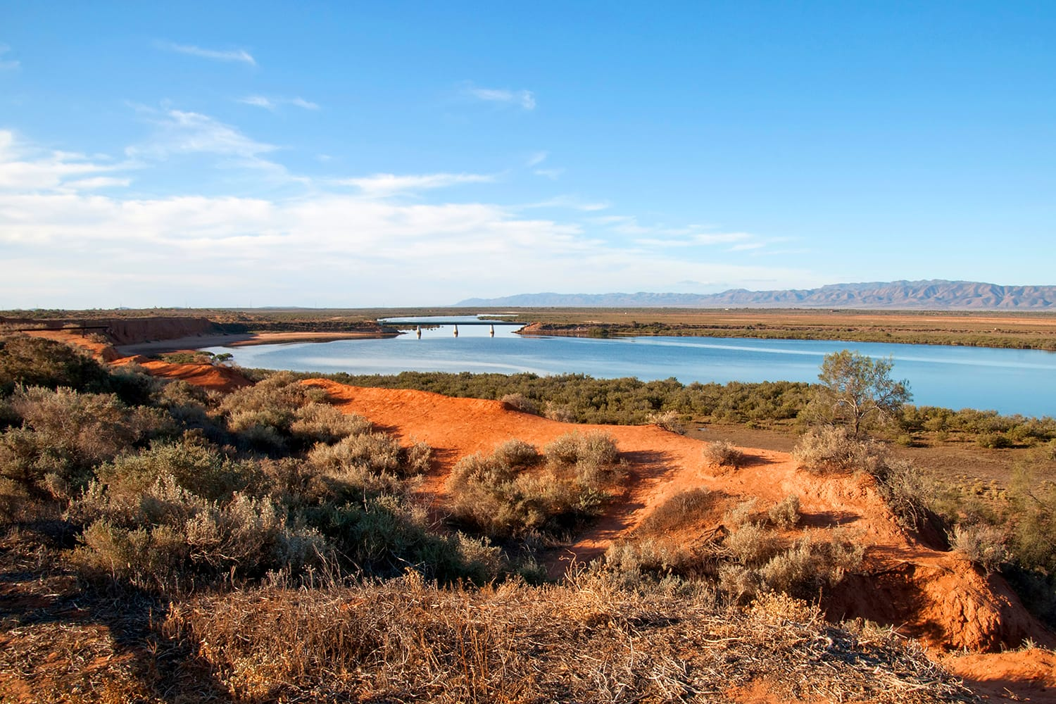 Port Augusta South Australia, termination of Spencer Gulf surrounded by desert landscape