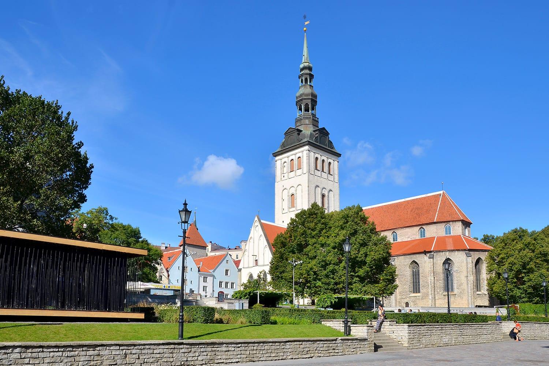 St. Nicholas Church (Niguliste kirik) in old town of Tallinn, Estonia at sunny day
