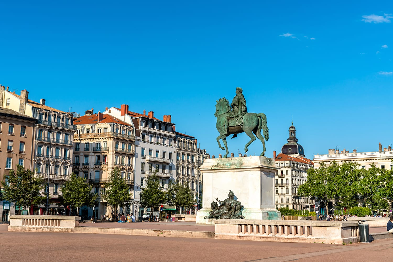 Equestrian statue of Louis XIV on Bellecour Square in Lyon, France