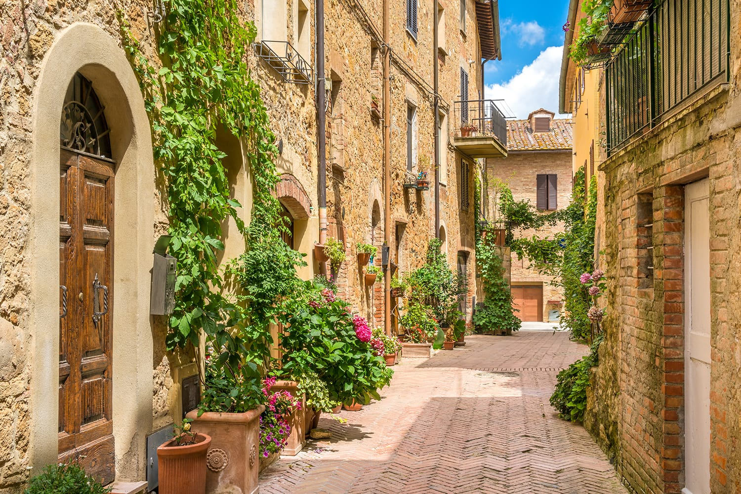 Old streets in Pienza, Italy