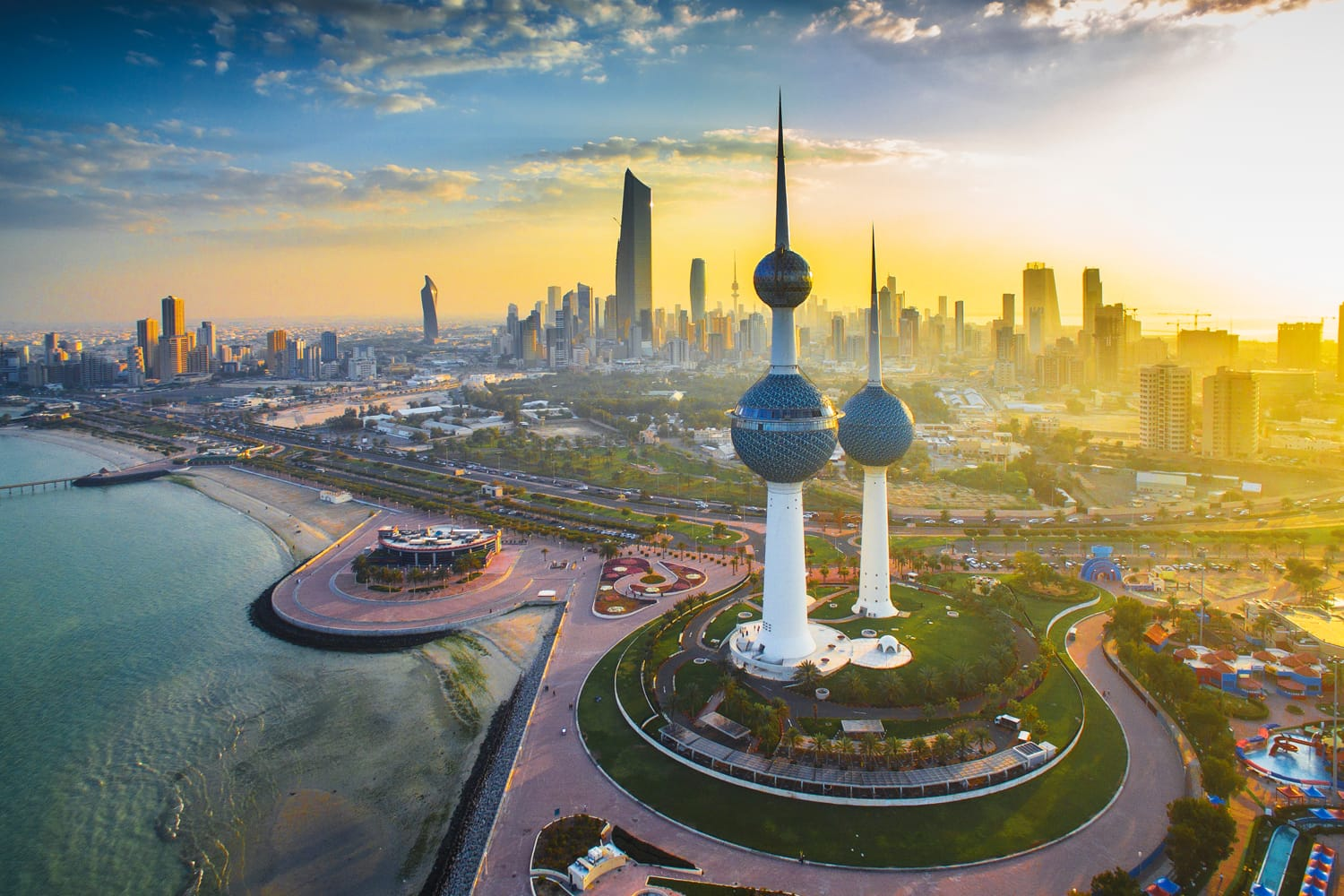 The Magnificent Kuwait Towers during Sunrise