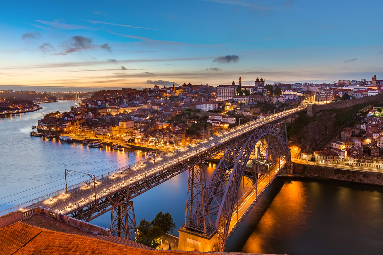 Sunset view over Porto, Portugal