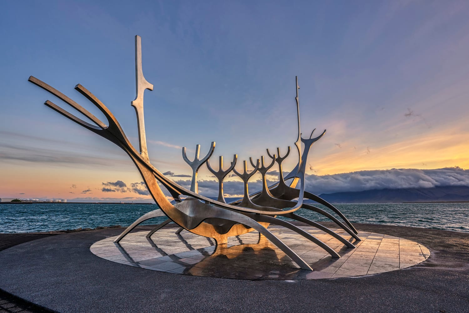 Sunrise at the iconic Sun Voyager sculpture in Reykjavik, Iceland.