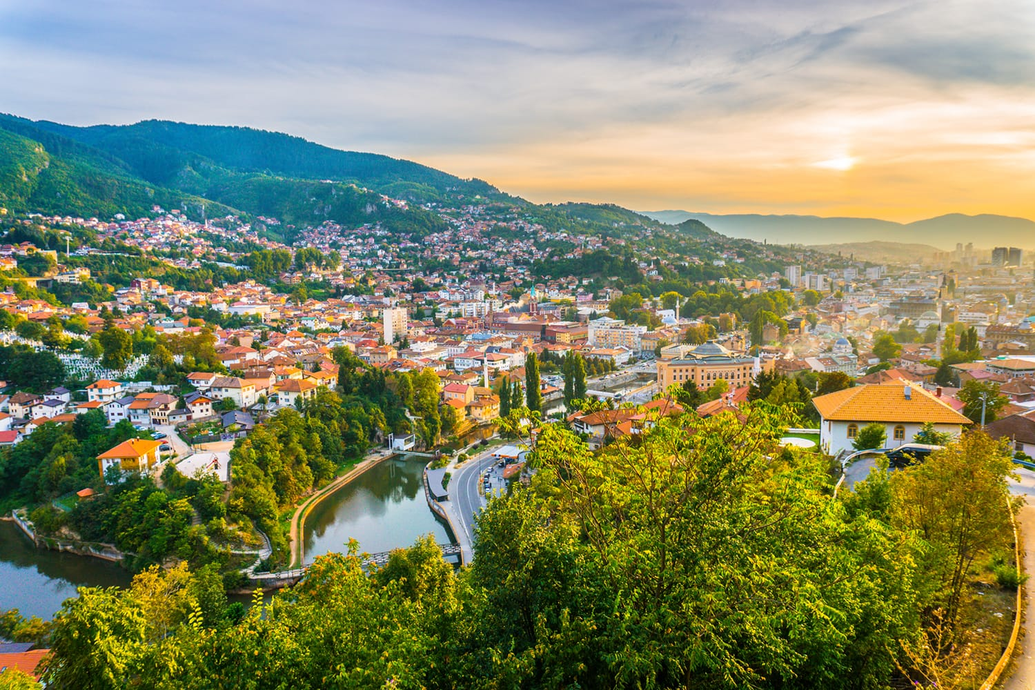 Sunset view of Sarajevo from most popular panoramic spot in Sarajevo; Yellow Fortress (Zuta Tabija), Vratnik