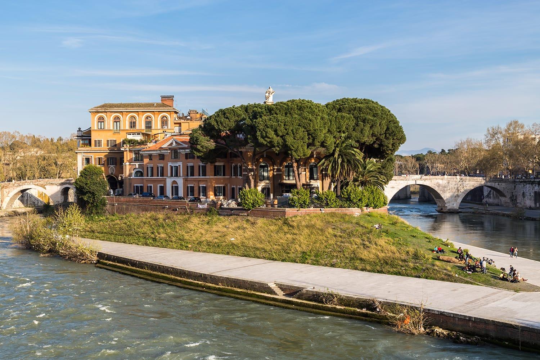 Tiber Island in Rome, Italy