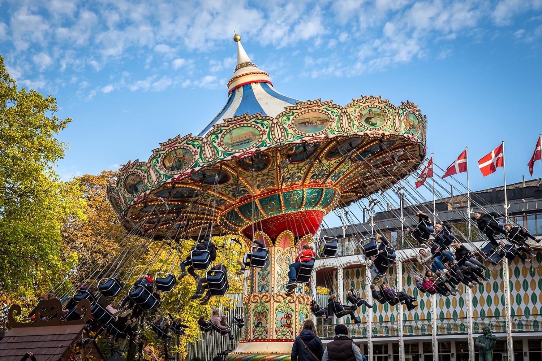 Tivoli Garden Swing Carousel Ride in Copenhagen, Denmark