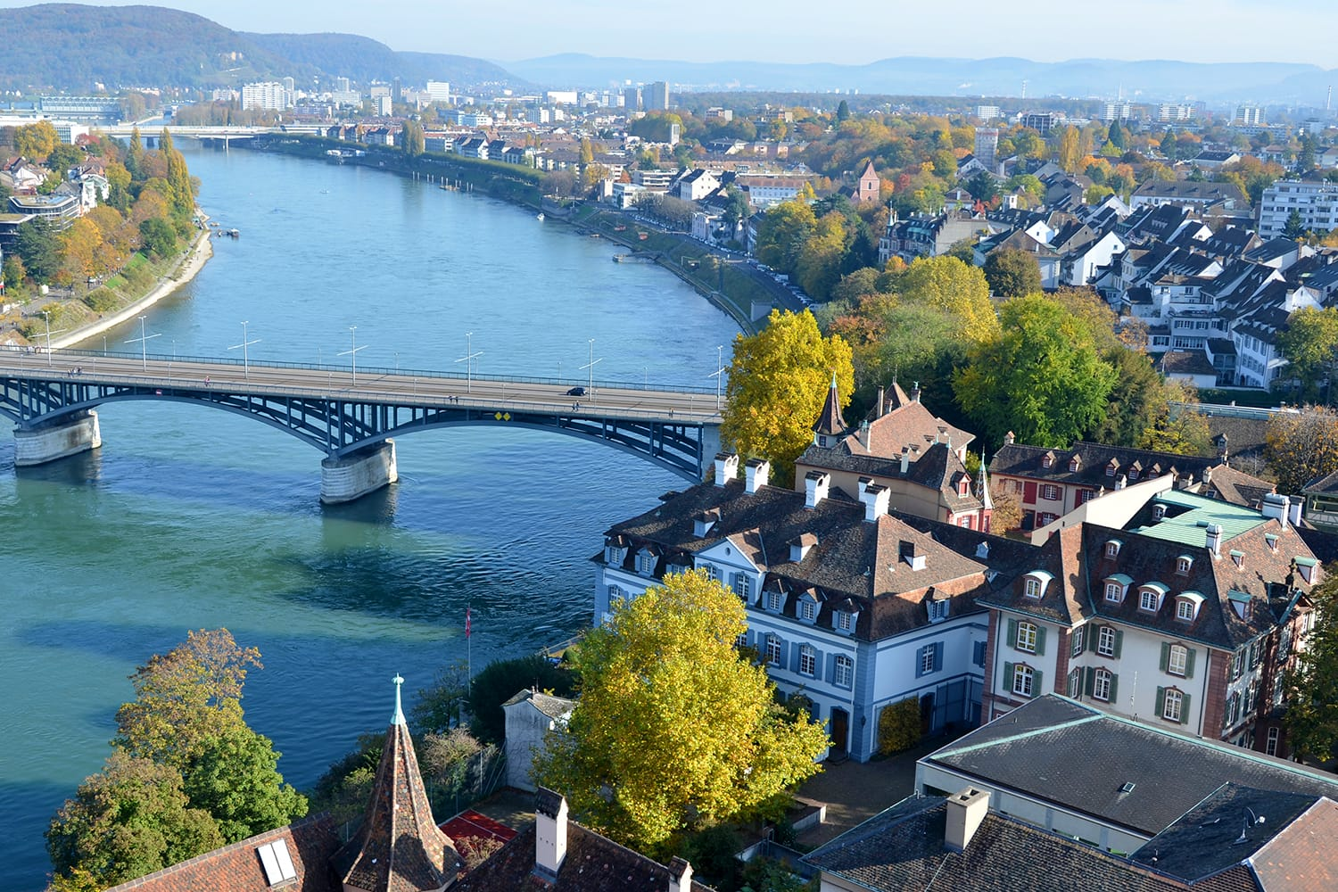Aerial view of Basel in Switzerland