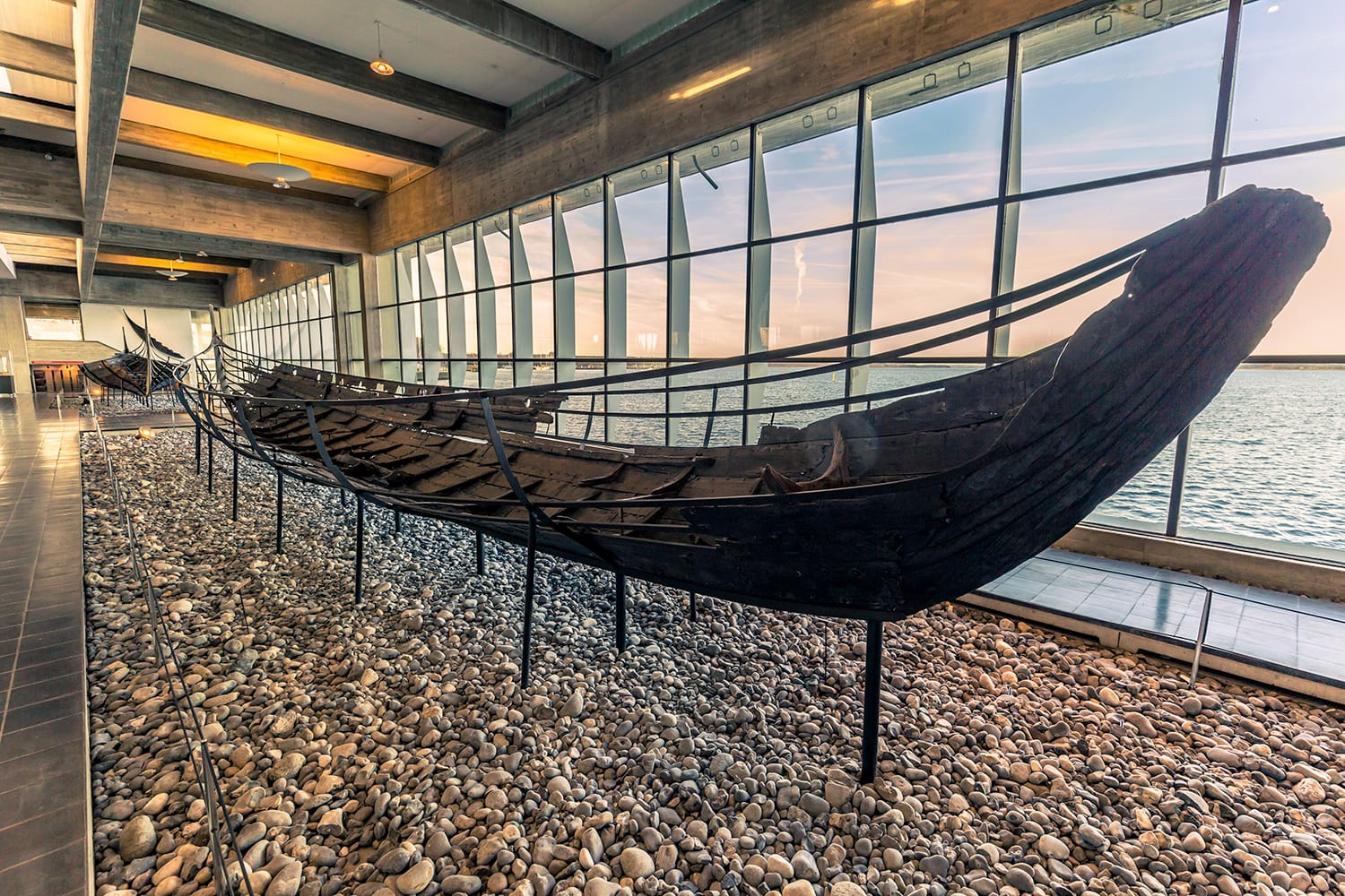 A Viking ship inside the Viking Ship Museum of Roskilde, Denmark