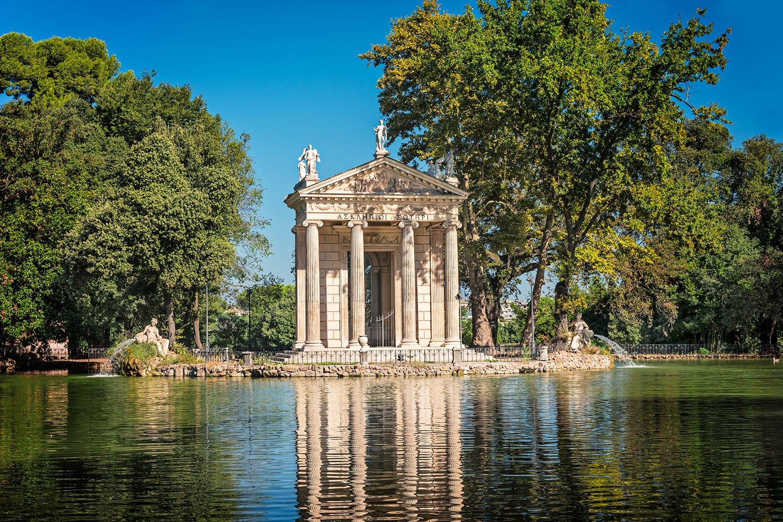 Villa Borghese in Rome, Temple of Esculapio, Rome, Italy