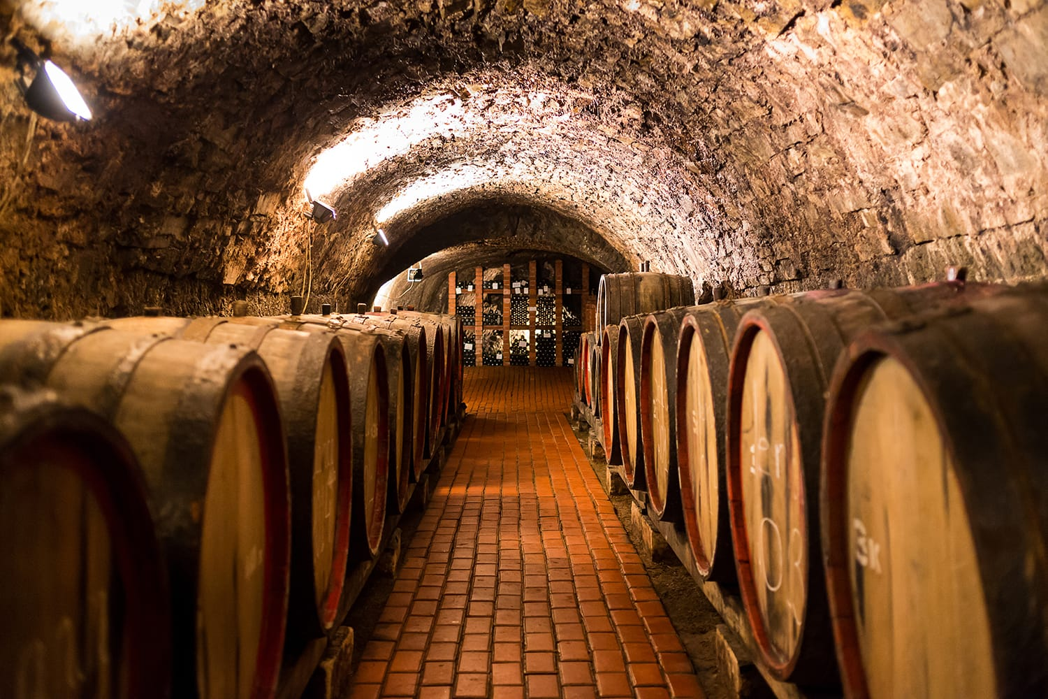 Old aged traditional wooden barrels with wine in a vault lined up in cool and dark cellar in Porto, Portugal