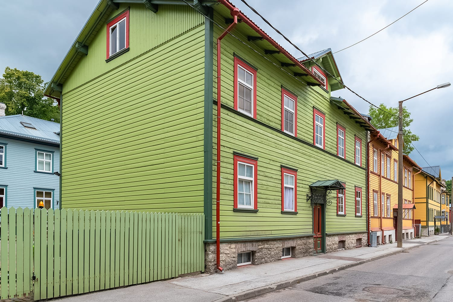 Tallinn in Estonia, wooden colorful houses, typical facades in Kalamaja