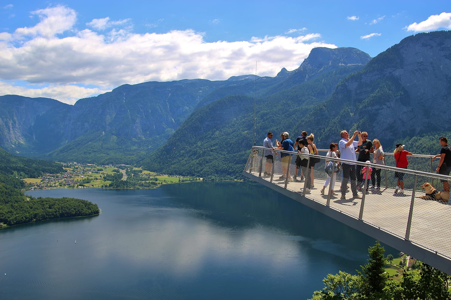 The World Heritage Viewing Platform in Hallstatt with a spectacular view of Lake Hallstatter See and the surrounding mountains Hallstatt, Austria