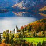 Aerial view of Bohinj lake in Julian Alps. Popular touristic destination in Slovenia