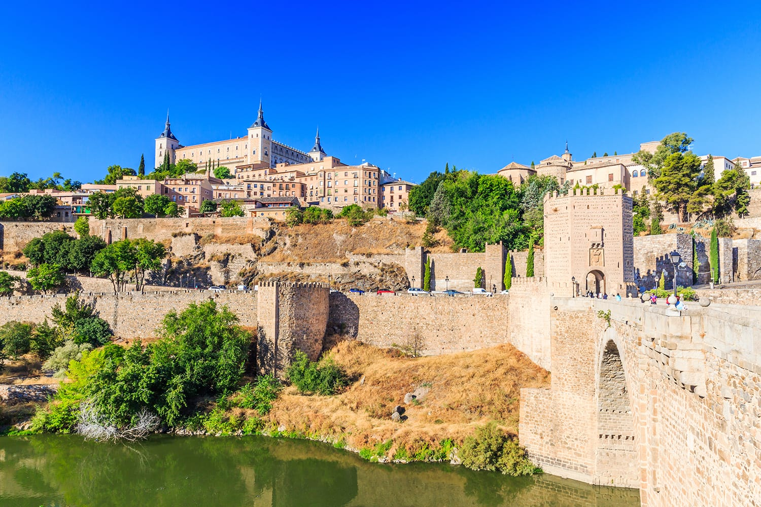 Toledo, Spain. Panoramic view of the old city and its Alcazar(Royal Palace)