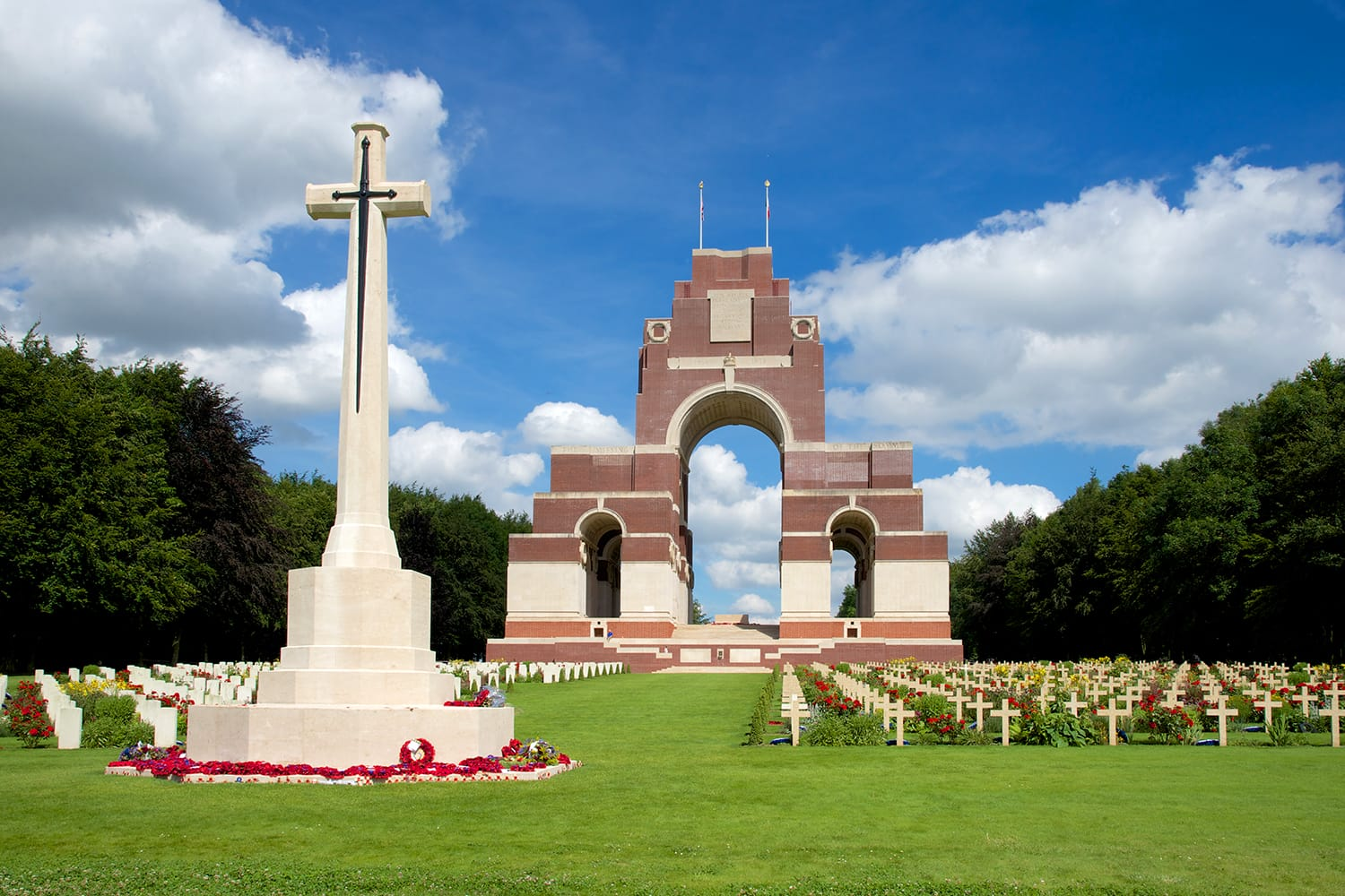 The cemetery and memorial to the missing shortly after the 100th Anniversary of the Battle of the Somme, France