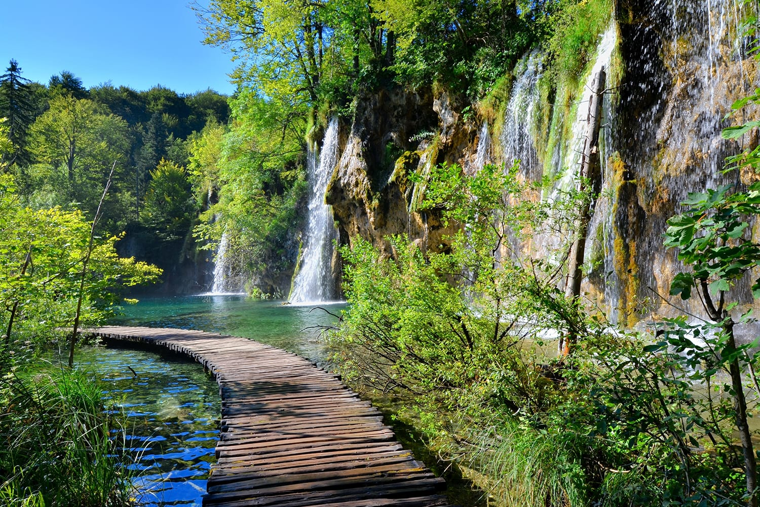Boardwalk through the waterfalls of Plitvice Lakes National Park, Croatia