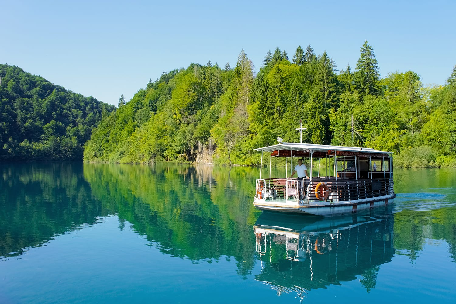 River boat at Plitvice Lakes National Park, Croatia