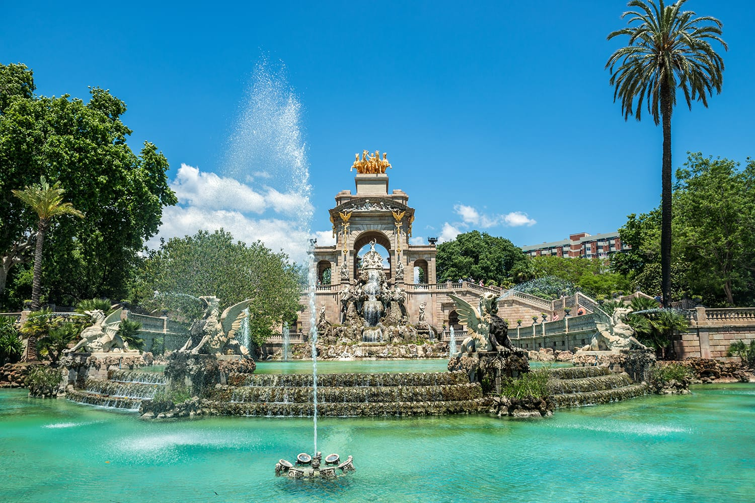 Fountain in Parc de la Ciutadella called Cascada in Barcelona, Spain