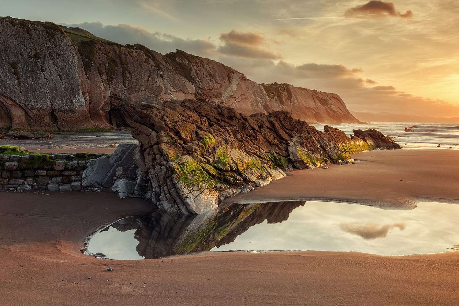 Itzurun beach, flysch of Zumaia on the coast of Gipuzkoa, Spain