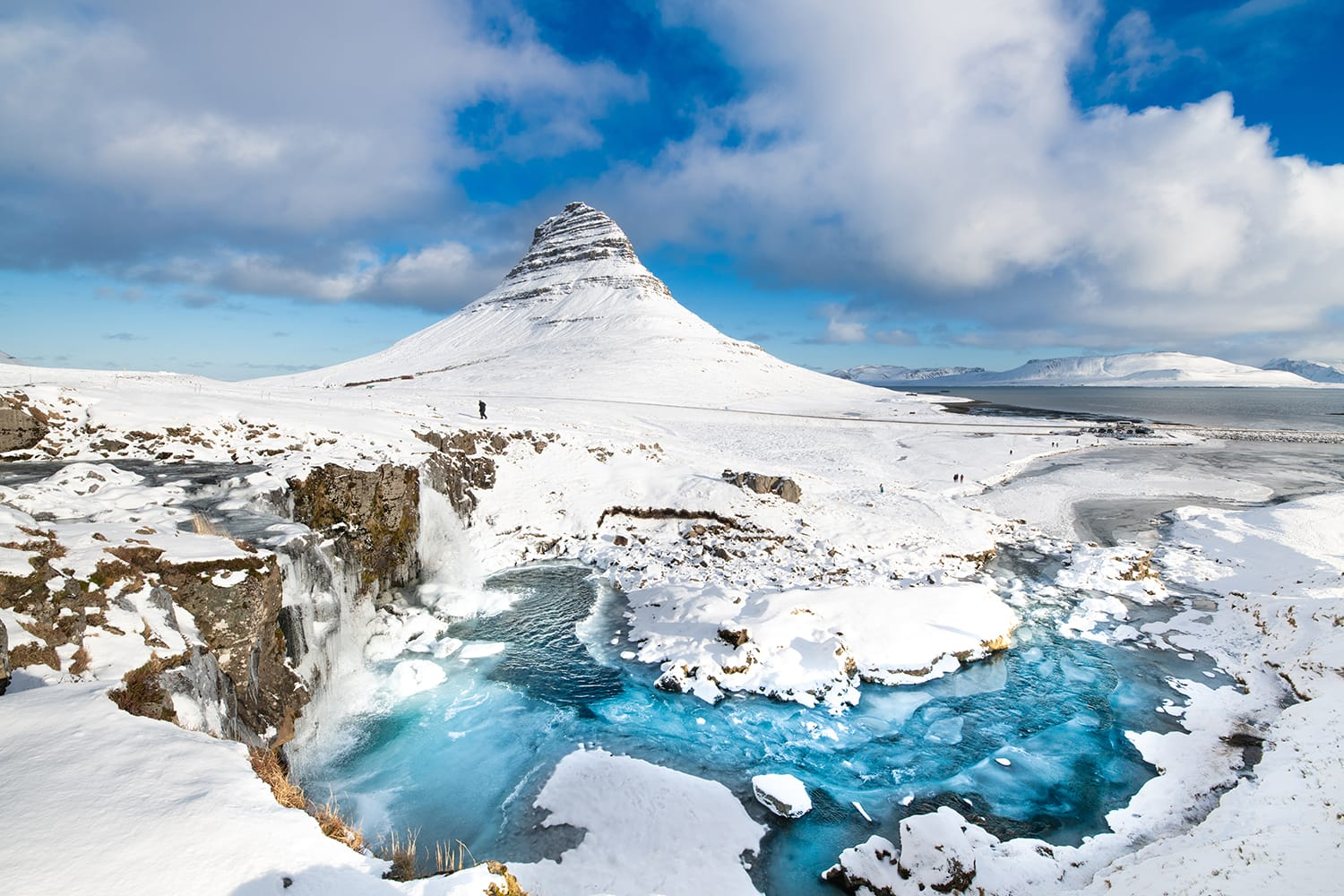 Beautiful Mt Kirkjufell in winter, Iceland