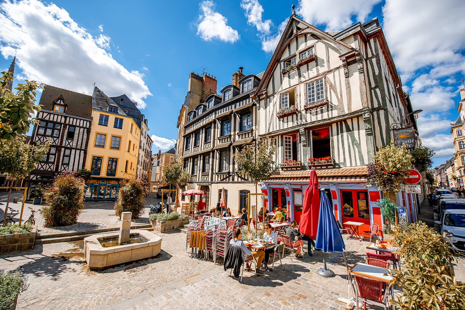 Street view with beautiful half-timbered houses in the old town of Rouen city, the capital of Nrmandy region in France