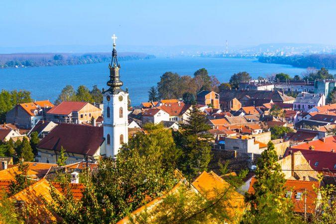 Panoramic view of Zemun, with church tower in Belgrade, Republic of Serbia