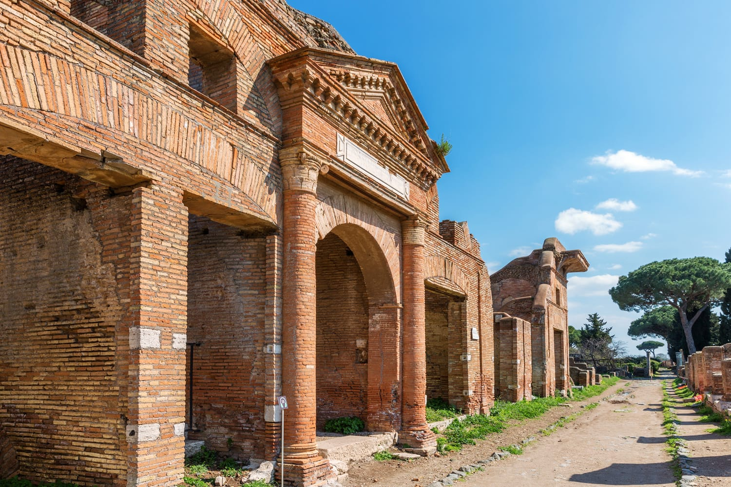 Roman ancient ruins in Ostia Antica, near Rome, Italy