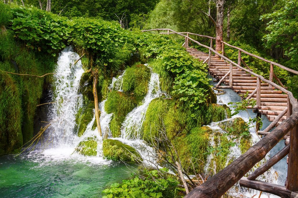 Wooden footpath in the Plitvice Lakes National park. Croatia