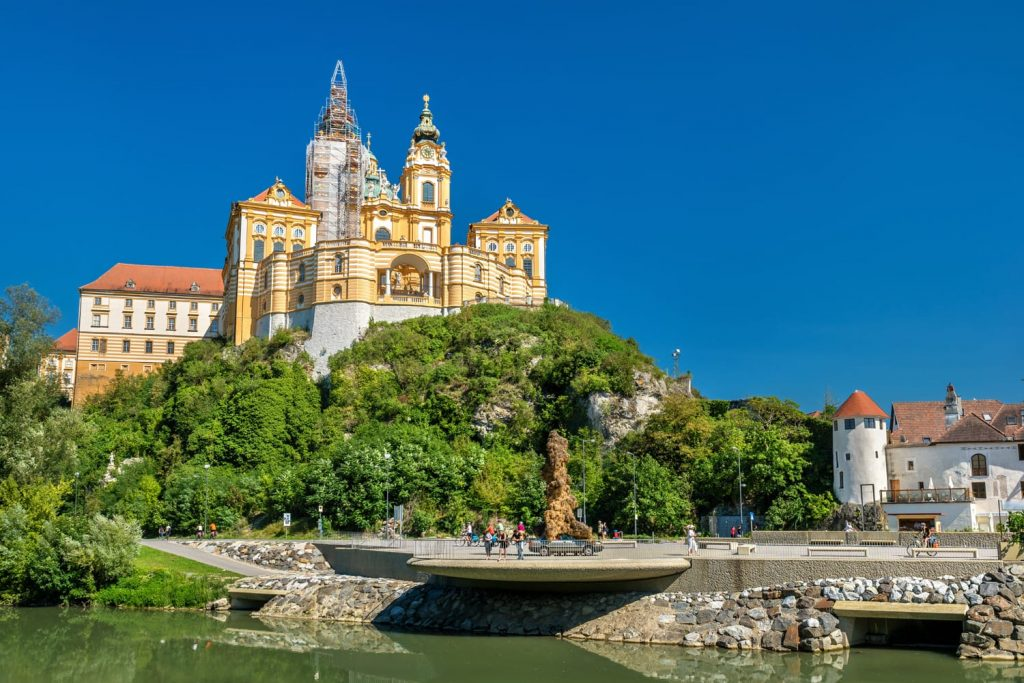 View of Stift Melk, a Benedictine abbey above the town of Melk, Lower Austria