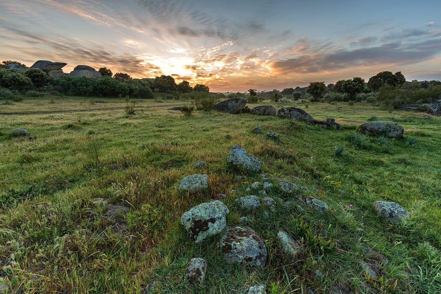 Sunrise in the Natural Area of Barruecos. Extremadura. Spain.