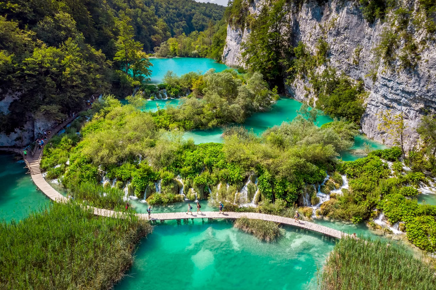 Several waterfalls of one of the most astonishing Plitvice Lakes, Croatia.