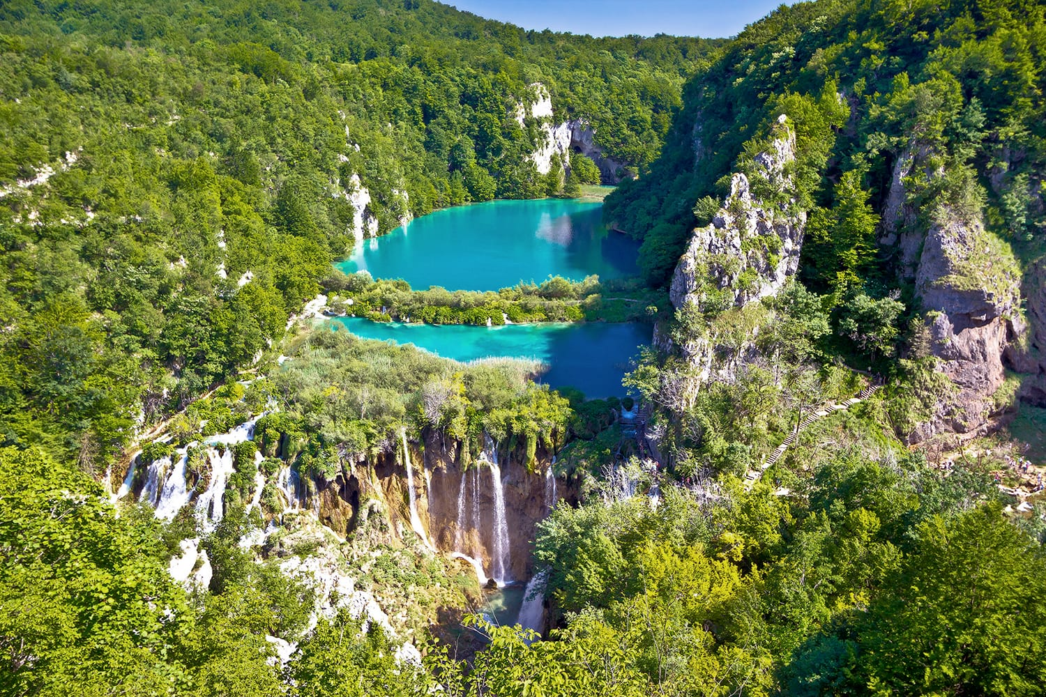 Paradise waterfalls of Plitvice lakes national park, panoramic view, Croatia