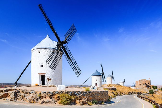 Consuegra, Spain. Windmills of Don Quixote in Toledo province