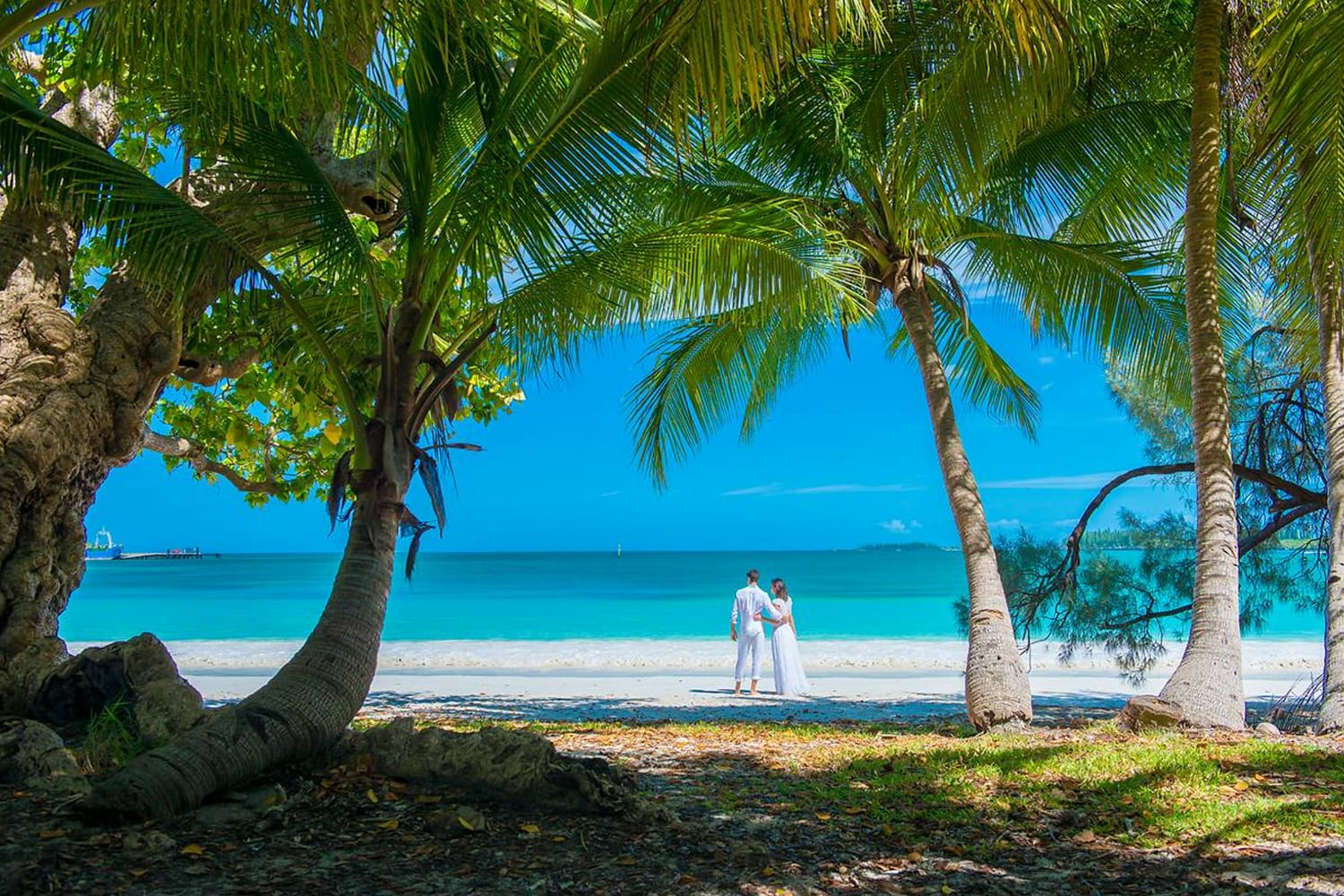 Couple on beach in New Caledonia