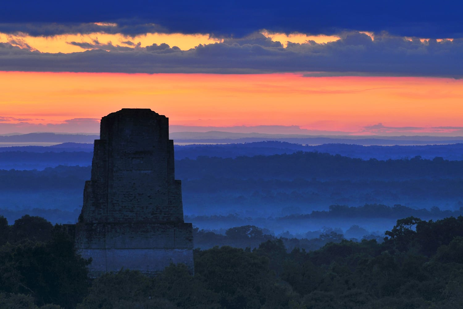 Sunset from Temple IV in Tikal, Guatemala