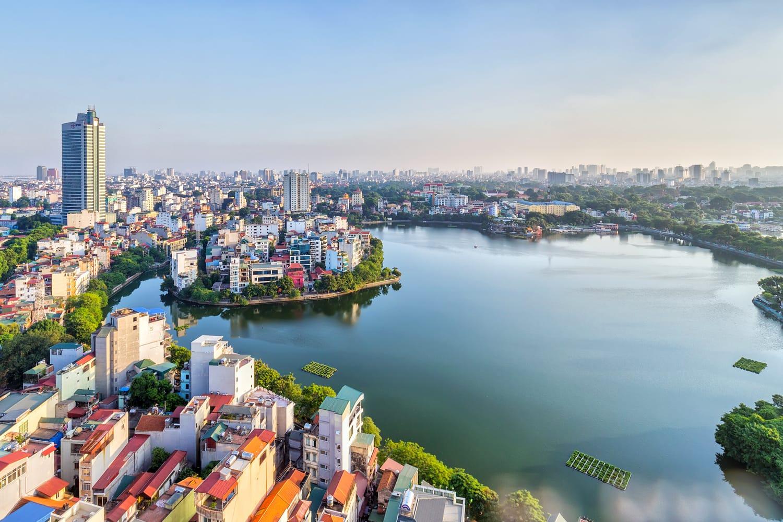 Aerial view of West Lake in Hanoi, Vietnam