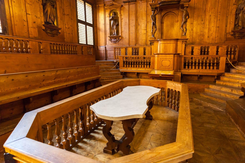 The anatomical theater inside the Biblioteca comunale dell'Archiginnasio in Bologna, Italy