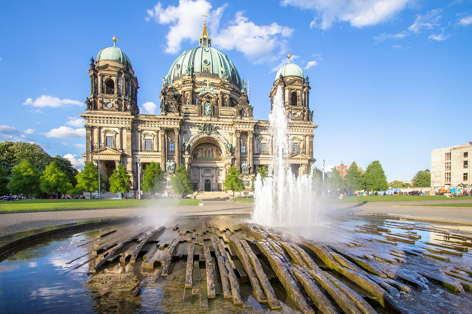 View of the Berliner Dom (Berlin Cathedral) with a fountain in the foreground in Berlin, Germany