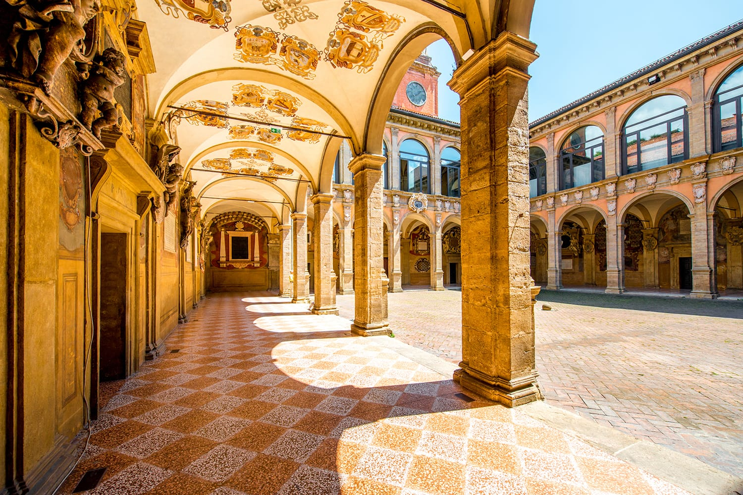 Inner yard of Archiginnasio of Bologna that houses now Municipal Library and the famous Anatomical Theatre. It is one of the most important building in Bologna, Italy.