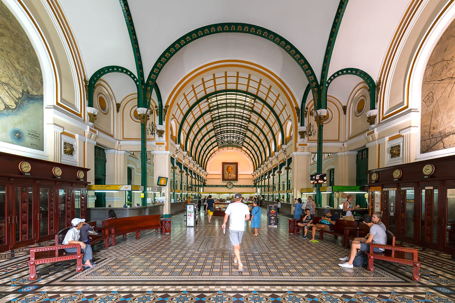 Interior of Saigon Central Post Office. It was built by the French in 1886 and is now a tourist attraction Popular in Ho Chi Minh city, Vietnam.