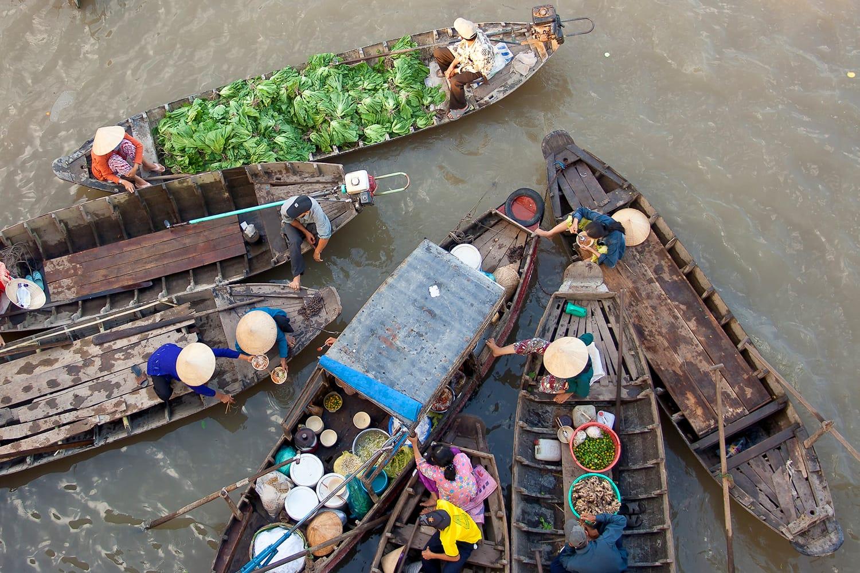 Mekong Floating Market in Vietnam