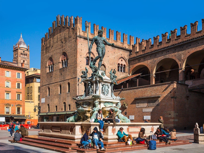 The Neptune Fountain in Piazza del Nettuno. Bologna, Italy
