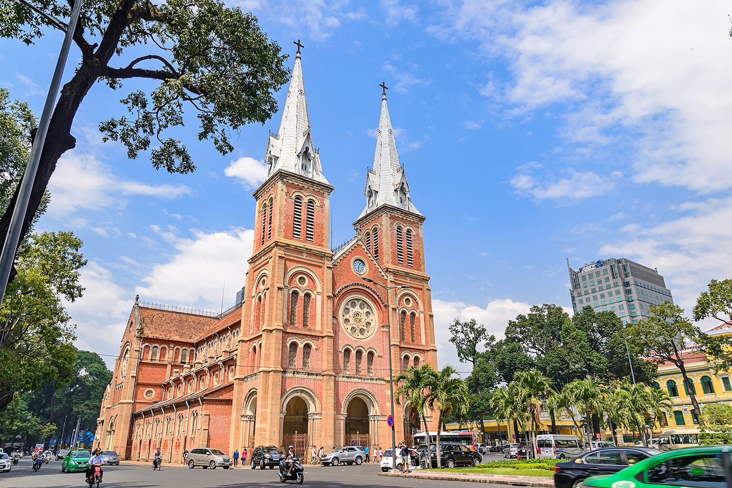 Saigon Notre-Dame Cathedral Basilica (Basilica of Our Lady of The Immaculate Conception) on blue sky background in Ho Chi Minh city, Vietnam