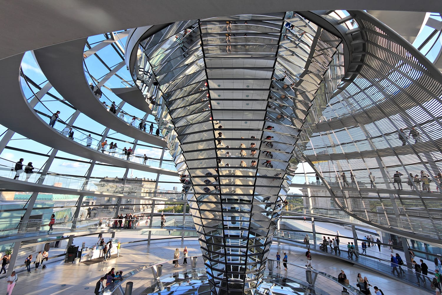 People visiting Reichstag building dome in Berlin