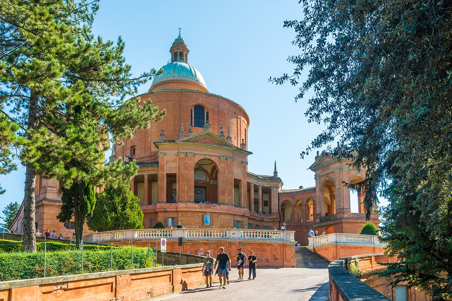 View at the Sanctuary of the Madonna di San Luca in Bologna, Italy